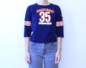 Chicago Bears XS Vintage Top Blue Orange and White Chicago Bears NFL Chicago Bears Crop