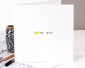 Love Card; 'Love You'; Valentines Card; I Love You Card; Wedding Anniversary Card; Card For Wife; GC369