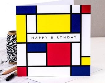 Birthday Card; Happy Birthday Card; Mondrian; Piet Mondrian Style; Card For Art Lovers; GC207