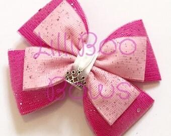 Handmade Aurora Sleeping Beauty Inspired Glitter Hair Bow
