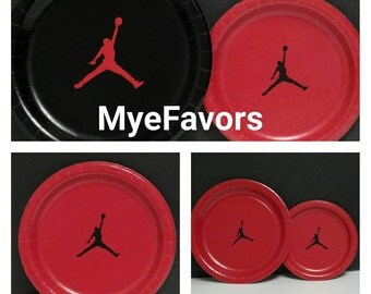 """15 - 7"""" Round Paper Jumpman Cake Dessert Appetizer Plates Lot in Red Black for Jumpman Baby Shower Theme Birthday Party Plate Tableware Nike"""