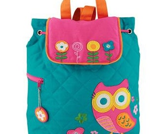 Children's Backpack, Custom Embroidery, Monogram, Stephen Joseph, Personalized Owl Backpack, Quilted Backpack