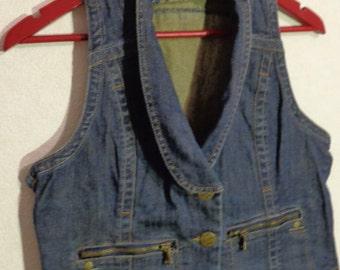 Denim Vest Women Medium Size Metal Buttons