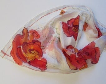 Hand painted 100% silk scarf 34 x 34 inc. Batik scarf. Silk scarf.  Ручная роспись. Батик. Натуральный шелк