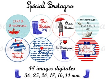 Images digitales cabochon * Bretagne * marin mer breton, images bijoux badge miroir, images Bretagne breton collage digital