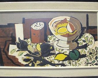 Georges Braque Silkscreen Art-Lore Flowered Tablecloth Eames Era