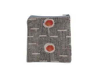 Block printed linen purse