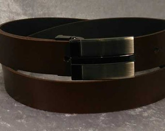 Brown leather belt with choice of buckle Made to Order