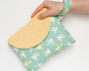 Crasty Flap/ Alfa / Spring and boho crochet clutch in cotton, weddig clutch in pastel color, changeable flap
