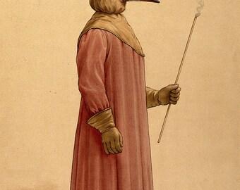 Medical Illustration: A Plague Doctor (1910). Fine Art Print/Poster (0014)