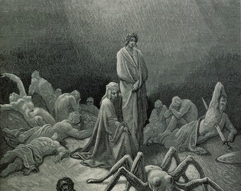 Gustave Dore: Dante and Virgil Looking at the Spider Woman. Fine Art Print/Poster. (003603)