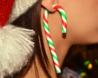 Christmas Candy Earrings, Candy Cane, Christmas Candy Ear Plugs or Fake Gauges, Cane Earrings, Cane Plugs, Handcrafted Christmas Earrings