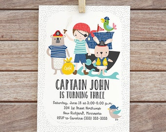 Boy pirate birthday Printable pirate invitation, pirate invite digital printable invitation,  animals, pirate party birthday invitation 136