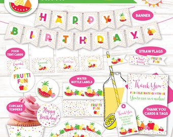 Tutti Frutti Party / Twotti Frutti Invitation / Tutti Frutti Party Decorations / Birthday Party Decorations / Party Printables / DIGITAL