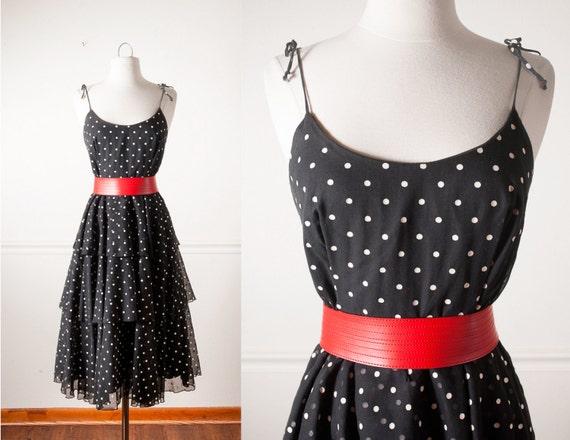 Dot dress 80s does 50s dress 50s style dress 1980s party dress