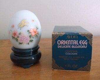 Vintage Avon Oriental Egg Delicate Blossoms perfume bottle Charisma cologne