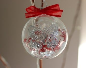 Christmas Bauble with Glittery Butterfly