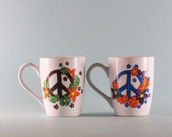Peace Sign Mugs - Hand Painted Mugs -Hand Painted Coffee Mugs - Set of 2