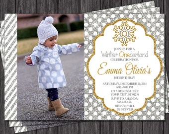 Winter Birthday Invitation - Winter ONEderland Invitations - Snowflake - Silver and Gold