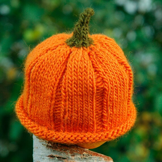 Knitting Pattern for Goo Goo Gourd Newborn Pumpkin Hat