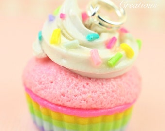Pastel Cupcake Charm Miniature Food Jewelry Polymer Clay Handmade Charm Necklace Gift Girl