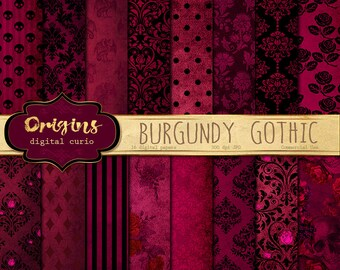 Burgundy Gothic digital paper, skull damask Halloween scrapbook papers, distressed grunge textures, goth backgrounds, victorian vintage lace