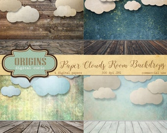 Paper Clouds Room Backdrops, Cloud Digital Paper, Digital Scrapbook Paper, printable photography photo backgrounds, rustic vintage textures