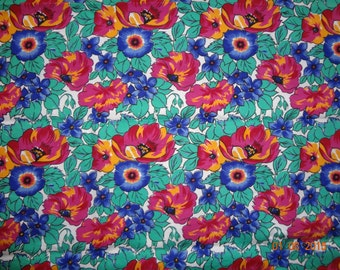 "2 7/8 Yard Bright Colorful Floral Cotton Fabric - Approx 42"" wide"