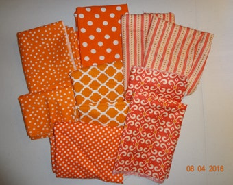 Assorted Lot of Cotton Fabric Pieces - Orange Surprise