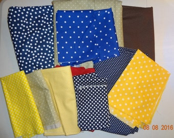 Polka Dot Parade - Collection of Assorted Polka Dot Print Cotton Fabric Pieces