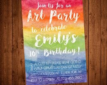 Art Party Rainbow Printable Birthday Invitation