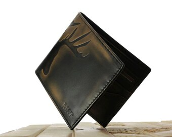 Deer DOUBLE ID Bifold  • Men's Leather Wallet • PERSONALIZED Leather Wallet • Hunter's Gift • Men's Gifts • Groomsmen Gift