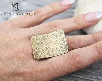 Bohemian Statement Ring gold hammered matt Boho Ring