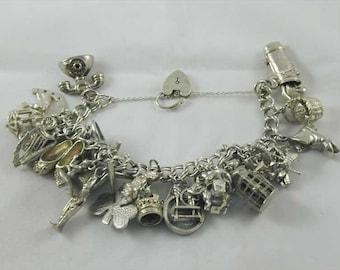Silver Charm Bracelet Vintage & 27 Twenty Seven Charms 108.7 Grams