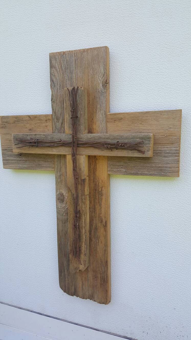 Barbed wire rustic cedar wood wall cross decor barbed wire zoom amipublicfo Gallery