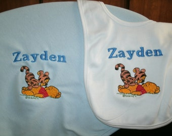 Pooh and Tigger Personalized Infant Toddler Baby Blanket & Bib Set Jungle Any color