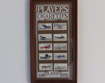 Framed Lot of Players Airplane Cigarette Cards!
