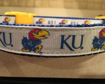 University of Kansas Jayhawks Small and Medium Dog Collar with Optional Matching Leash