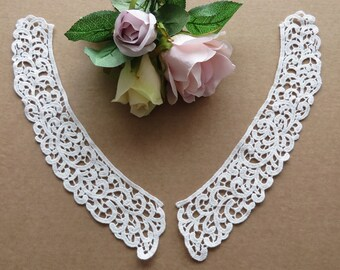 Vintage style 100% cotton white guipure lace collars 1 pair