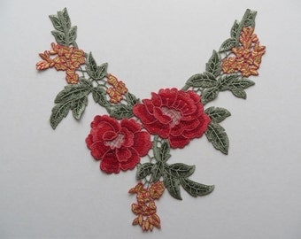 Colourful (reds & greens) guipure lace embroidered neck trim applique, 1 piece