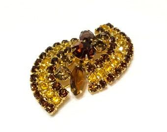 Topaz Spiral Brooch, Rhinestone Pave Brooch, Topaz & Root Beer Jewelry, 1960s, Statement Jewelry, Rhinestone Jewelry, Vintage