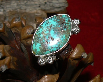 Sterling Silver and Natural Easter Blue Turquoise Ring, size 9.5 US, 14.5 carat