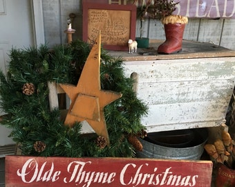 6x33 Rustic Olde Thyme Christmas Sign