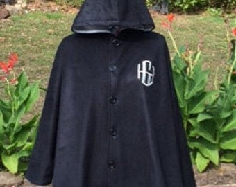 Monogrammed Women's Reversible Black & Silver Hooded Fleece Winter Cape Poncho - Personalized - GREAT 4 Mother's Day