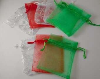 25 2.75x3.5 Inch Christmas Bags, Christmas Mixed Bags, Supplies,Favor Bags,Organza Bags,Snowflake Bags,Party Bags,Christmas Bags,Gift Bags