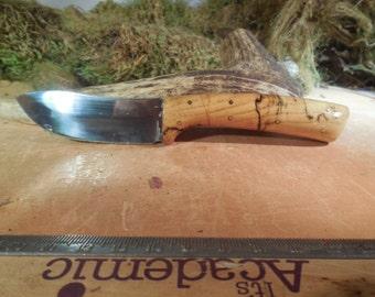 Eric's Oregon Elk Skinning Knife Spalted Hacklberry wood Handles