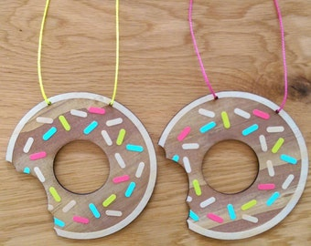 Nursery wall art. Doughnuts wall art. Hand painted wall art. Timber wall hanging