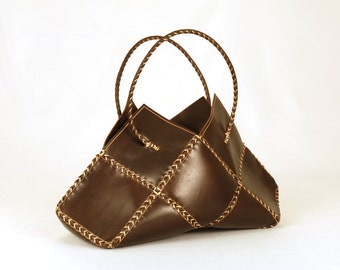 "Top Handle Bags. Chocolat bags. Handmade bags. Leather bags.For women. Original gift. Gift for her. ""Chessy Bag"""