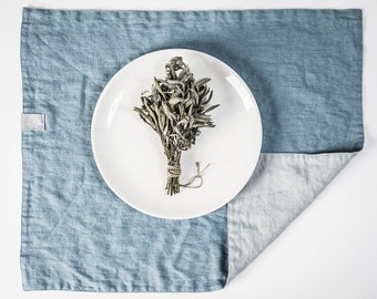 Set of 4 ice blue/silver grey and swedish blue linen placemats. Reversible/double side linen placemats.