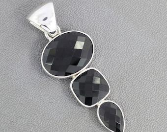 On Sale Black Onyx Gemstone Pendant, Solid Sterling Silver Jewelry, Black Gemstone Pendant, December Birthstone Pendant